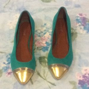 Bamboo Turquoise Flat Pointy Toe Shoes